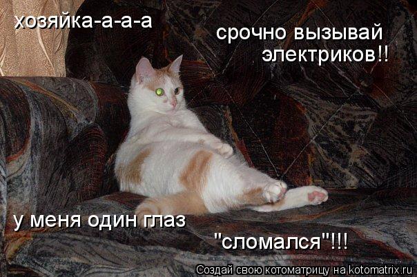 """Котоматрица: хозяйка-а-а-а срочно вызывай электриков!! у меня один глаз """"сломался""""!!!"""