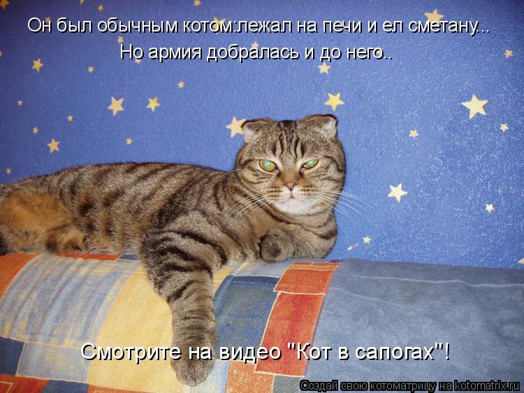 Котоматрица: Он был обычным котом:лежал на печи и ел сметану... Он был обычным котом:лежал на печи и ел сметану... Но армия добралась и до него.. Но армия доб