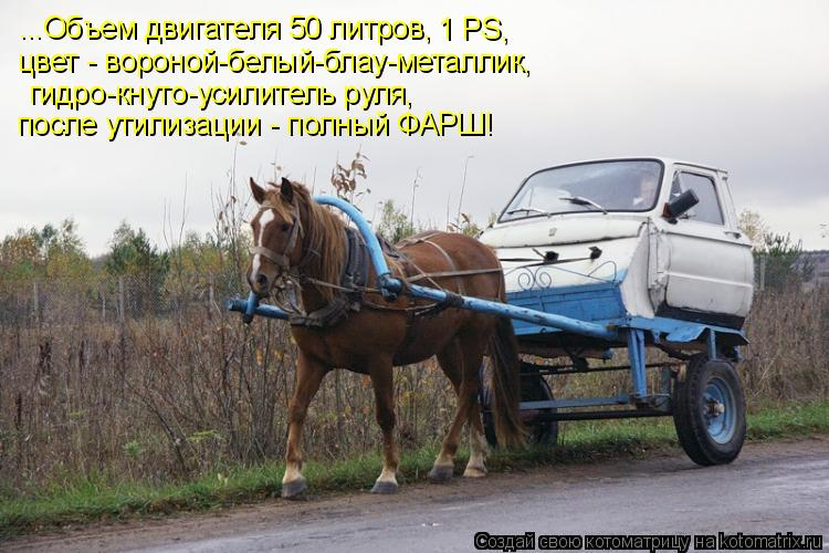 Котоматрица: ...Объем двигателя 50 литров,  1 РS,  цвет - вороной-белый-блау-металлик,   гидро-кнуто-усилитель руля, после утилизации - полный ФАРШ!