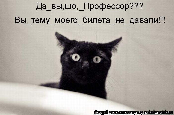 Котоматрица: Да_вы,шо,_Профессор??? Вы_тему_моего_билета_не_давали!!!
