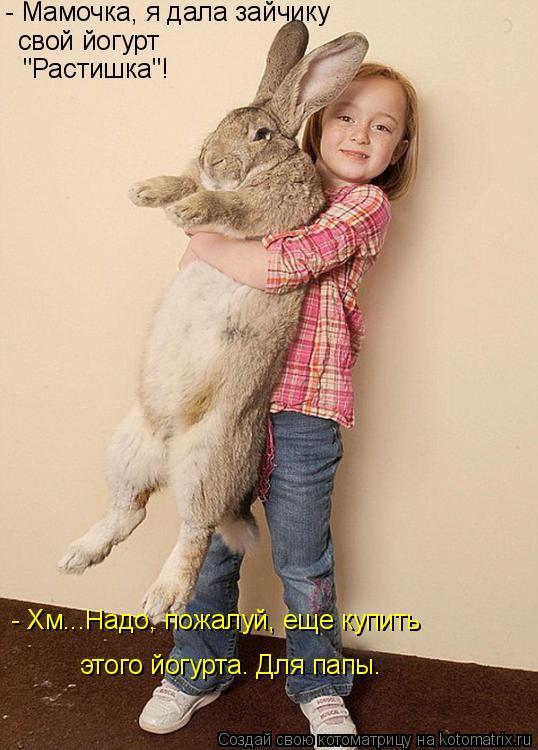 """Котоматрица: - Мамочка, я дала зайчику свой йогурт """"Растишка""""! - Хм...Надо, пожалуй, еще купить этого йогурта. Для папы."""