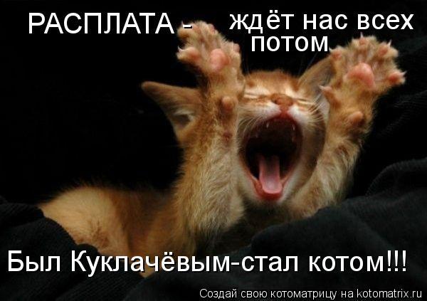 Котоматрица: ждёт нас всех потом   РАСПЛАТА - Был Куклачёвым-стал котом!!!