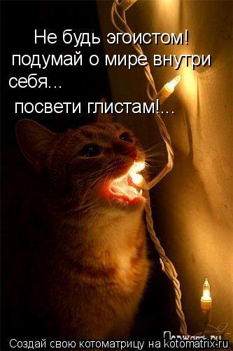Котоматрица: Не будь эгоистом! подумай о мире внутри себя... посвети глистам!...
