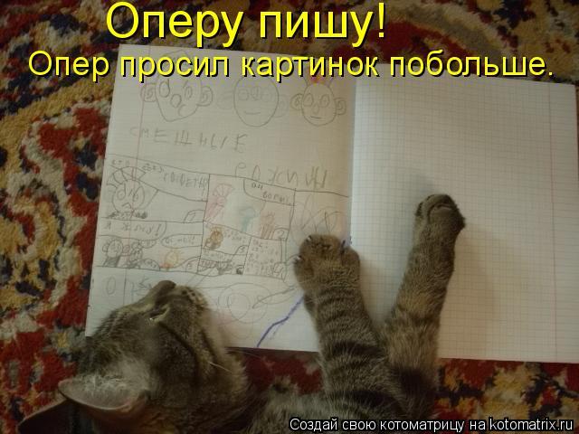 Котоматрица: Оперу пишу!  Опер просил картинок побольше.