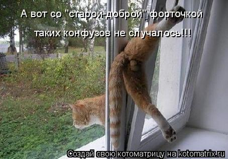 """Котоматрица: А вот со """"старой-доброй"""" форточкой таких конфузов не случалось!!!"""