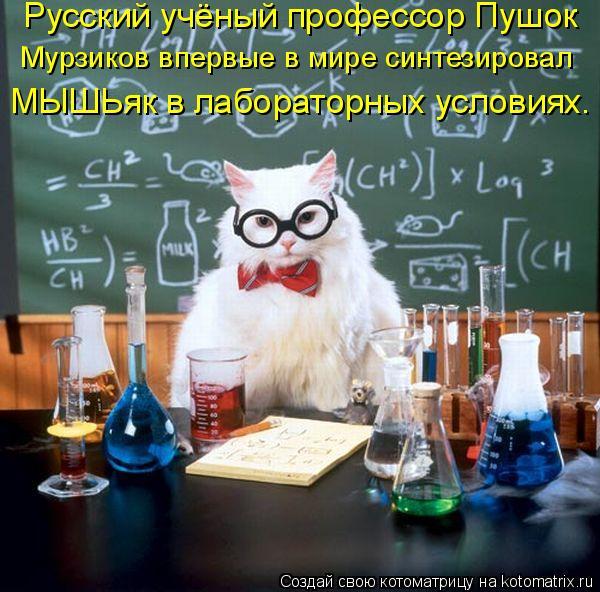Котоматрица: Русский учёный профессор Пушок  Мурзиков впервые в мире синтезировал  МЫШЬяк в лабораторных условиях.
