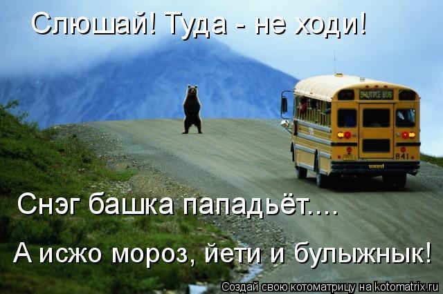 Котоматрица: Слюшай! Туда - не ходи! Снэг башка пападьёт.... А исжо мороз, йети и булыжнык!