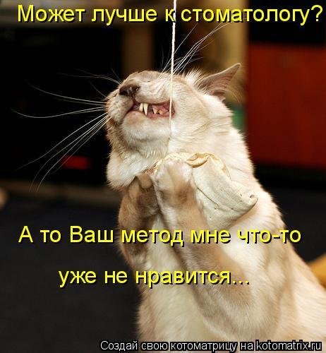 Котоматрица: Может лучше к стоматологу?    А то Ваш метод мне что-то    уже не нравится...