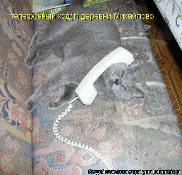 Котоматрица: телефонный код(т) деревни Михайлово