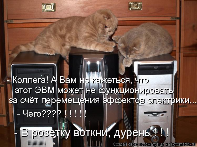 Котоматрица: - Коллега! А Вам не кажеться, что  этот ЭВМ может не функционировать  за счёт перемещения эффектов электрики... - Чего???? ! ! ! ! ! - В розетку воткн