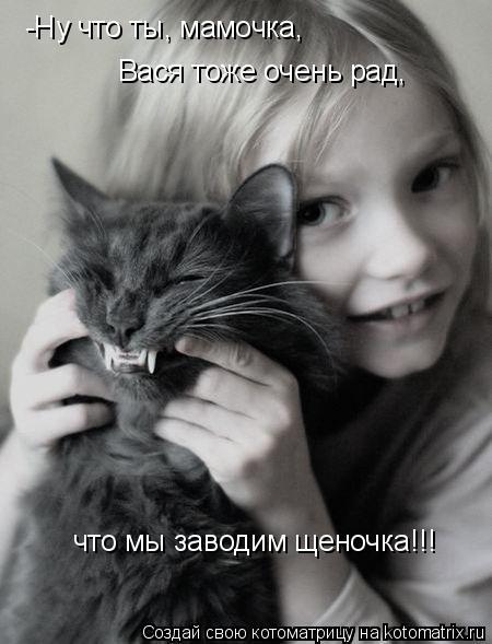 Котоматрица: Вася тоже очень рад, что мы заводим щеночка!!! -Ну что ты, мамочка,