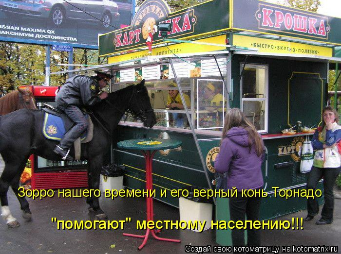 """Котоматрица: Зорро нашего времени и его верный конь Торнадо """"помогают"""" местному населению!!!"""