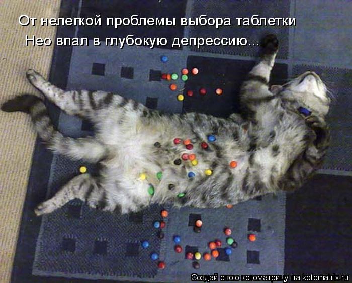 Котоматрица: От нелегкой проблемы выбора таблетки Нео впал в глубокую депрессию...