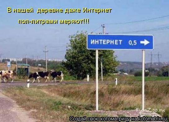 Котоматрица: В нашей  деревне даже Интернет  пол-литрами меряют!!!