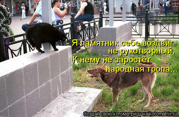 Котоматрица: - Я памятник себе воздвиг  не рукотворный, К нему не заростёт народная тропа...