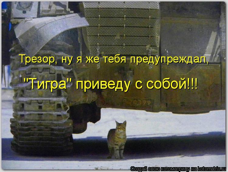 "Котоматрица: Трезор, ну я же тебя предупреждал,  ""Тигра"" приведу с собой!!!"