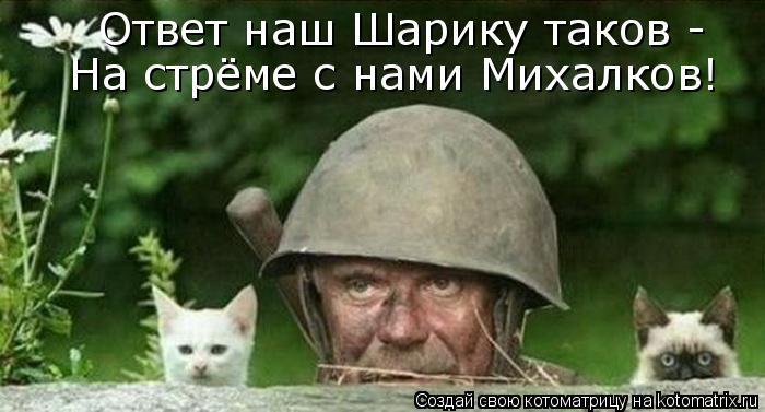 Котоматрица: Ответ наш Шарику таков -  На стрёме с нами Михалков!