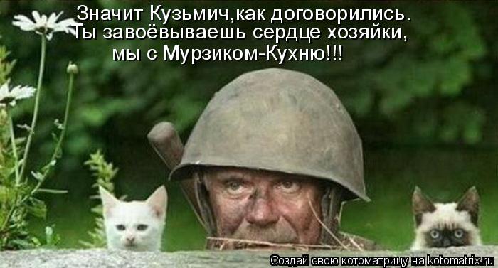 Котоматрица: Значит Кузьмич,как договорились. Ты завоёвываешь сердце хозяйки, мы с Мурзиком-Кухню!!!