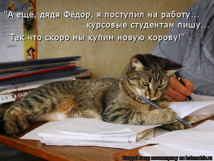 """Котоматрица: """"А ещё, дядя Фёдор, я поступил на работу... курсовые студентам пишу... Так что скоро мы купим новую корову!"""""""