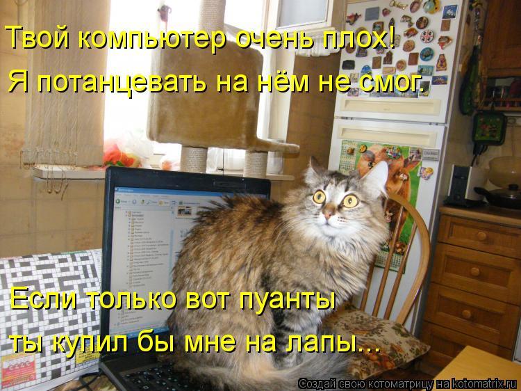 Котоматрица: Твой компьютер очень плох! Я потанцевать на нём не смог. Если только вот пуанты ты купил бы мне на лапы...