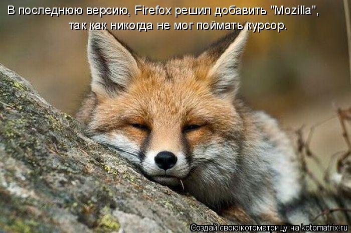 """Котоматрица: В последнюю версию, Firefox решил добавить """"Mozilla"""",  так как никогда не мог поймать курсор."""