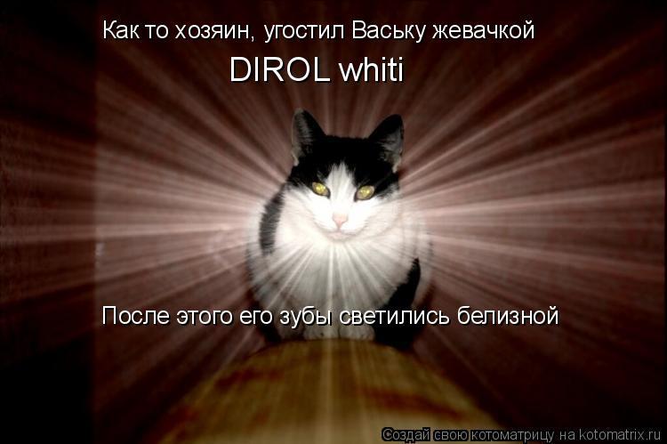 Котоматрица: Как то хозяин, угостил Ваську жевачкой  DIROL whiti После этого его зубы светились белизной