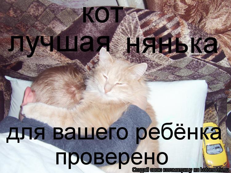 Котоматрица: кот лучшая нянька для вашего ребёнка проверено
