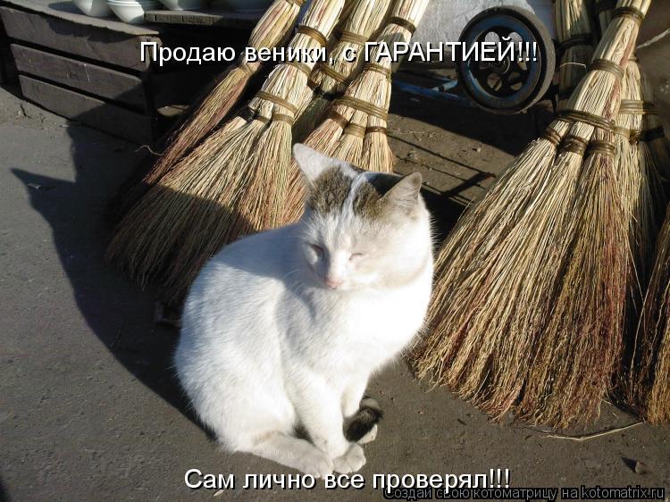 Котоматрица: Продаю веники, с ГАРАНТИЕЙ!!! Сам лично все проверял!!!