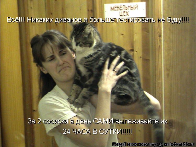 Котоматрица: Всё!!! Никаких диванов я больше тестировать не буду!!!! За 2 сосиски в день САМИ вылёживайте их  24 ЧАСА В СУТКИ!!!!!