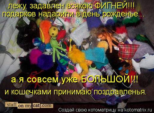Котоматрица: лежу, задавлен всякою ФИГНЕЙ!!! подарков надарили в день рожденье... а я совсем уже БОЛЬШОЙ!!! и кошечками принимаю поздравленья.