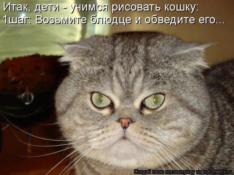 Котоматрица: Итак, дети - учимся рисовать кошку: 1шаг: Возьмите блюдце и обведите его...