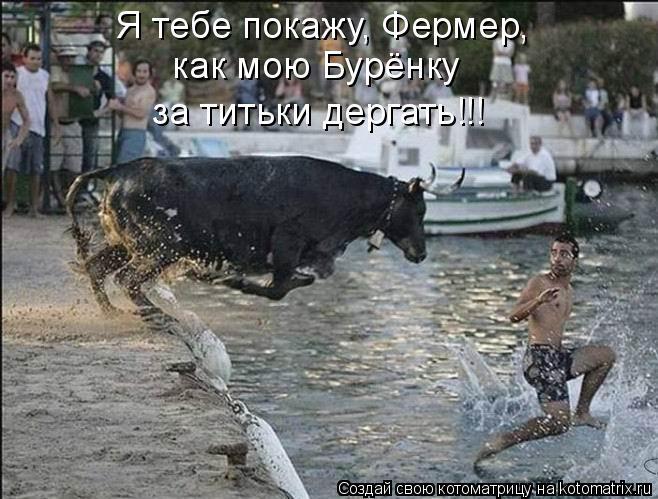 Котоматрица: Я тебе покажу, Фермер,  как мою Бурёнку  за титьки дергать!!!