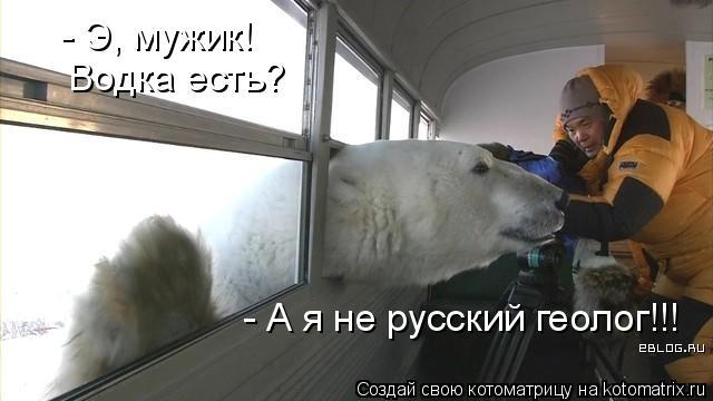 Котоматрица: - Э, мужик! Водка есть? - А я не русский геолог!!!