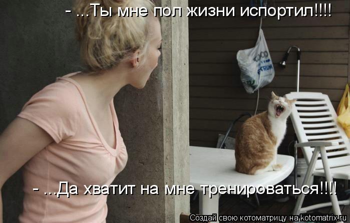 Котоматрица: - ...Ты мне пол жизни испортил!!!! - ...Да хватит на мне тренироваться!!!!
