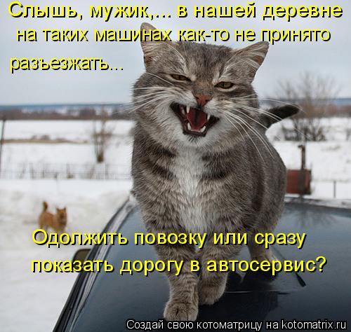 Котоматрица: Слышь, мужик,... в нашей деревне  разъезжать...   на таких машинах как-то не принято  показать дорогу в автосервис?  Одолжить повозку или сразу
