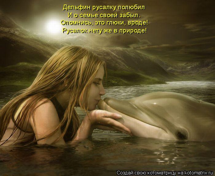 Котоматрица: Дельфин русалку полюбил И о семье своей забыл. Опомнись, это глюки, вроде! Русалок нету же в природе!