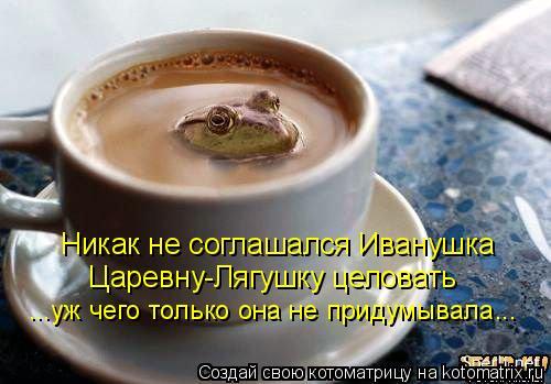 Никак не соглашался Иванушка Царевну-Лягушку целовать ...уж чего толь