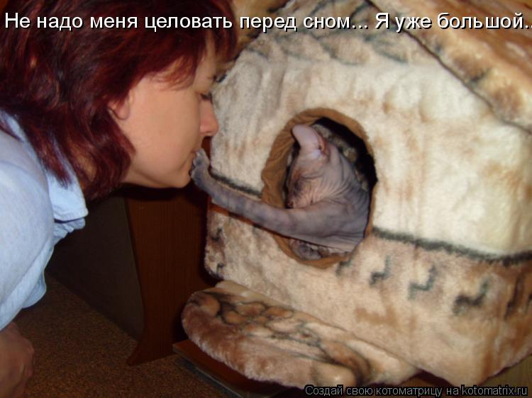 Не надо меня целовать перед сном... Я уже большой...