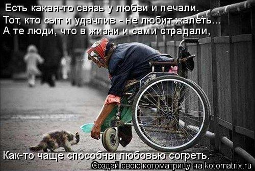 Котоматрица: Есть какая-то связь у любви и печали. Тот, кто сыт и удачлив - не любит жалеть... А те люди, что в жизни и сами страдали, Как-то чаще способны люб