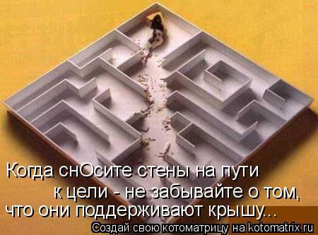 Котоматрица: Когда снОсите стены на пути к цели - не забывайте о том,  что они поддерживают крышу...