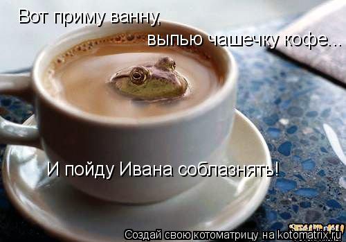 Котоматрица: Вот приму ванну, выпью чашечку кофе... И пойду Ивана соблазнять!
