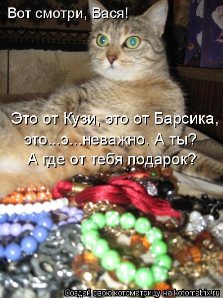 Котоматрица: Вот смотри, Вася! Это от Кузи, это от Барсика, это...э...неважно. А ты? А где от тебя подарок?