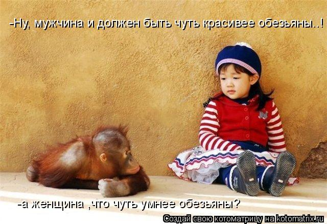 Котоматрица: -а женщина ,что чуть умнее обезьяны? -Ну, мужчина и должен быть чуть красивее обезьяны..!
