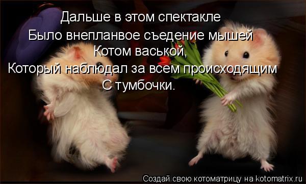 Котоматрица: Дальше в этом спектакле Было внепланвое съедение мышей  Котом васькой, Который наблюдал за всем происходящим С тумбочки.