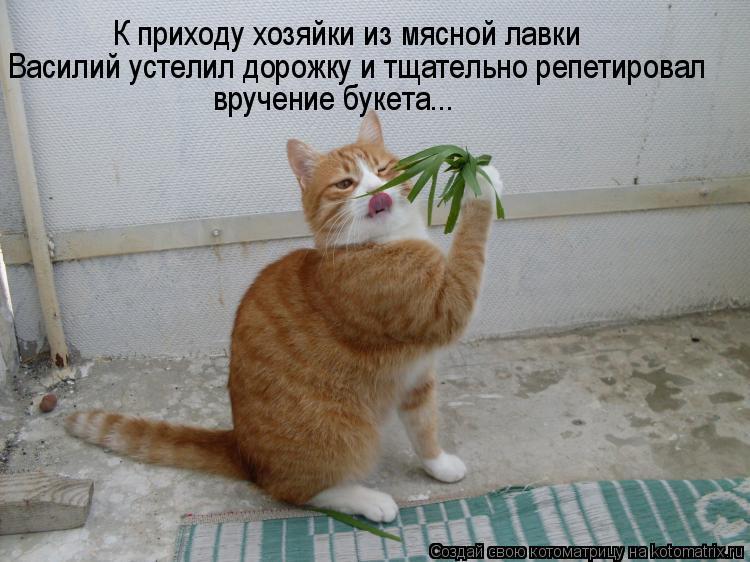 Василий устелил дорожку и тщательно репетировал вручение букета... К п