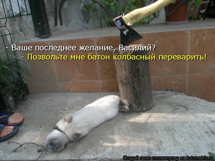 - Ваше последнее желание, Василий? - Позвольте мне батон колбасный пер