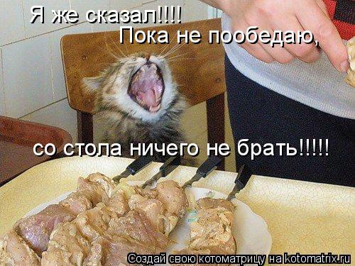 Я же сказал!!!! Пока не пообедаю, со стола ничего не брать!!!!!