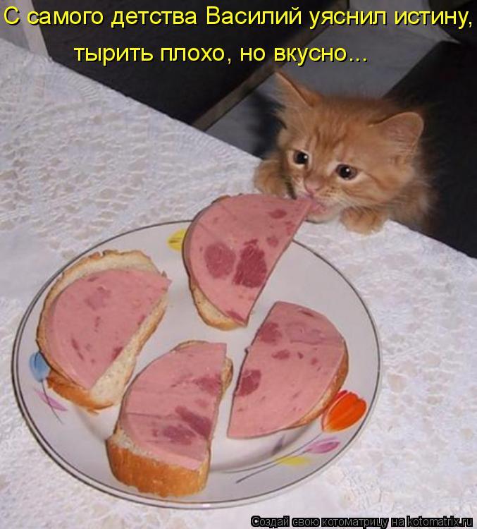 С самого детства Василий уяснил истину, тырить плохо, но вкусно...