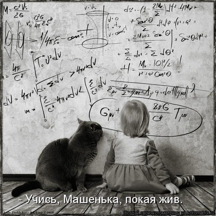 Котоматрица: - Учись, Машенька, покая жив.