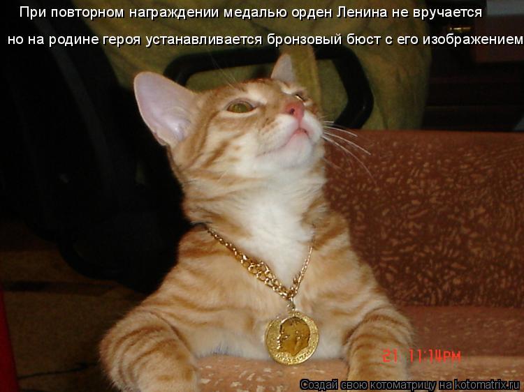 Котоматрица: При повторном награждении медалью орден Ленина не вручается но на родине героя устанавливается бронзовый бюст с его изображением